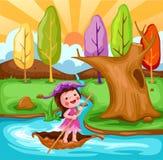 pequeño barco de navegación de hadas libre illustration