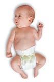 Pequeño bebé adorable aislado en el fondo blanco Foto de archivo