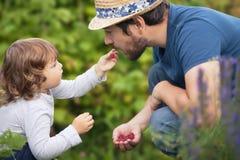 Pequeño bebé adorable y su padre que comen las frambuesas fotografía de archivo