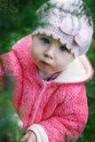 Pequeño bebé bajo rama borrosa del pino verde Imagenes de archivo