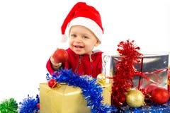 Pequeño bebé del ayudante de Santa Imagen de archivo libre de regalías