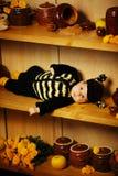 Pequeño bebé divertido con el traje de la abeja Imagen de archivo