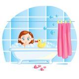 Pequeño bebé divertido que toma un baño Fotografía de archivo