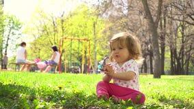 Pequeño bebé en el parque almacen de metraje de vídeo