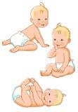 Pequeño bebé en pañal Imagenes de archivo