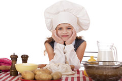 Pequeño bebé hermoso vestido como cocinero Fotografía de archivo