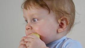 Pequeño bebé que come la manzana almacen de video