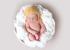 Pequeño bebé que duerme en huevo Fotos de archivo