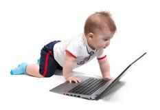 Pequeño bebé que usa la computadora portátil Imagen de archivo libre de regalías