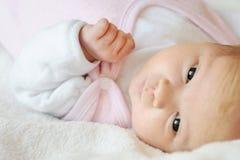 Pequeño bebé recién nacido dulce en una cama Fotos de archivo libres de regalías