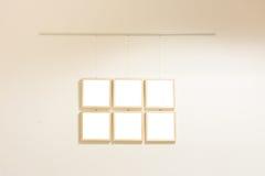 Pequeño blanco contemporáneo moderno de Art Museum Display Frames Blank foto de archivo libre de regalías