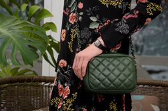 Pequeño bolso de cuero verde acolchado elegante en las manos de un fashi Foto de archivo
