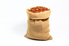 Pequeño bolso del arroz rojo Foto de archivo libre de regalías
