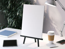 Pequeño caballete negro con el marco en blanco representación 3d stock de ilustración