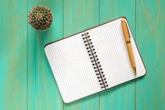 Pequeño cactus y cuaderno abierto en la tabla imagen de archivo libre de regalías