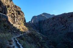 Pequeño canal para el abastecimiento de agua bajo puth en Tenerife Imagen de archivo libre de regalías