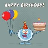Pequeño carácter feliz de la mascota de la historieta del yeti que lleva un sombrero del partido y que sostiene globos y una tort Imagen de archivo