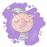 Pequeño carácter lindo del cerdo que duerme en el ejemplo dibujado mano del vector de la ropa de la noche imagen de archivo libre de regalías