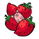 Pequeño cerdo del vector divertido y fresa gigante libre illustration