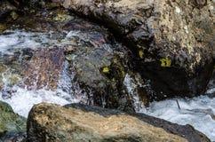 Pequeño cierre de la corriente de la montaña de la cascada para arriba Imágenes de archivo libres de regalías