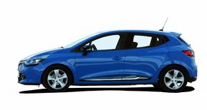 Pequeño coche azul Foto de archivo libre de regalías