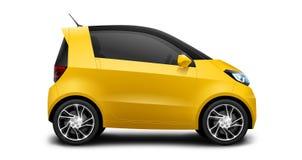 Pequeño coche compacto genérico amarillo en el fondo blanco imágenes de archivo libres de regalías