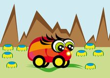 Pequeño coche de la animación Fotografía de archivo