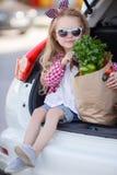 Pequeño comprador de la muchacha- de productos, sentándose en el tronco abierto de un coche Foto de archivo libre de regalías