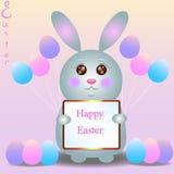 Pequeño conejo agradable con los globos Pascua feliz Fotos de archivo