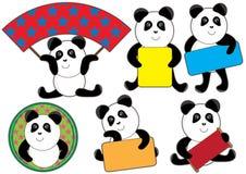 Pequeño conjunto del espacio de la tarjeta de la panda Fotografía de archivo