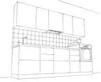 Pequeño dibujo de lápiz de la cocina Fotos de archivo