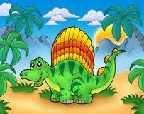 Pequeño dinosaurio en paisaje Foto de archivo