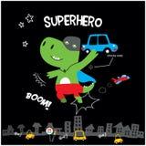 Pequeño dinosaurio lindo del superhéroe ilustración del vector