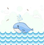 Pequeño diseño de tarjeta ilustrado de la ballena Foto de archivo