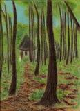 Pequeño edificio en pastel del bosque stock de ilustración
