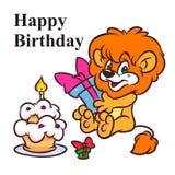 Pequeño ejemplo de la historieta de la torta de Lion Happy Birthday ilustración del vector
