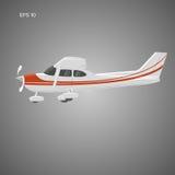 Pequeño ejemplo privado del vector plano Aviones propulsados del solo motor Ilustración del vector icono Sideview imagen de archivo libre de regalías