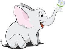Pequeño elefante de la historieta con la flor Imágenes de archivo libres de regalías