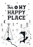 Pequeño explorador - cartel dibujado mano linda del cuarto de niños con el animal y letras en estilo escandinavo libre illustration