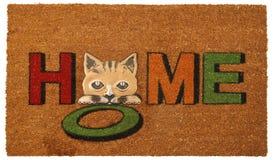 Pequeño felpudo colorido hermoso del zute de Kitty Welcome del hola con HOLA imagenes de archivo