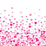 Pequeño fondo lindo de los corazones, orden al azar, diverso tamaño y colores ilustración del vector