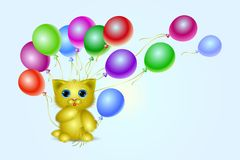 Pequeño gatito con la bola del aire Imágenes de archivo libres de regalías