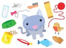 Pequeño gato con Cat Things típica Foto de archivo libre de regalías