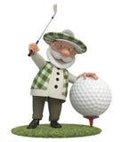 pequeño golfista del hombre 3d stock de ilustración