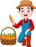 Pequeño granjero de la historieta que cosecha zanahorias ilustración del vector