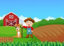Pequeño granjero de la historieta y su perro con el fondo de la granja stock de ilustración