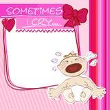 Pequeño griterío del bebé de la postal Fotos de archivo libres de regalías