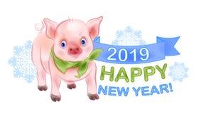 Pequeño guarro divertido es el símbolo de 2019 Diseño del Año Nuevo imagen de archivo