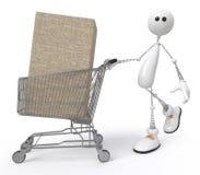 Pequeño hombre blanco con la compra Imágenes de archivo libres de regalías