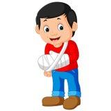 Pequeño hombre con el brazo quebrado ilustración del vector